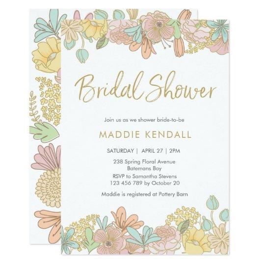 Golden Spring floral Bridal Shower Invitation