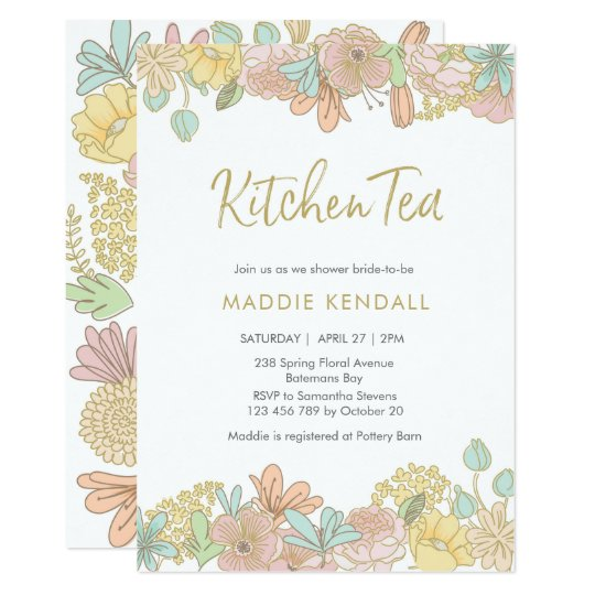 Golden Spring floral Kitchen Tea Party Invitation