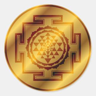 Golden Sri Yantra Round Sticker