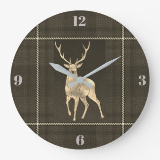 Golden Stag Plaid Large Clock
