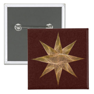 Golden Star Abstract Art 15 Cm Square Badge