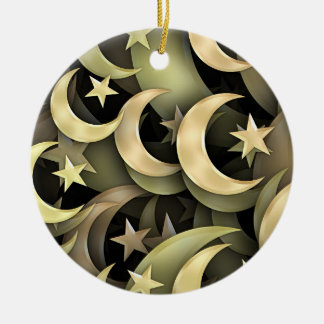 Golden Star and Crescent Ceramic Ornament