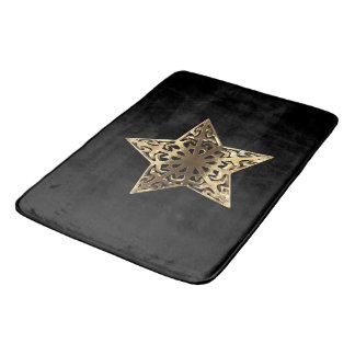 Golden Star Black and Gold Elegant Metallic Bath Mat