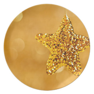Golden Star Decoration Background Party Plate