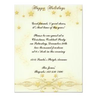 Golden Star Delight Happy Holidays Custom Invite