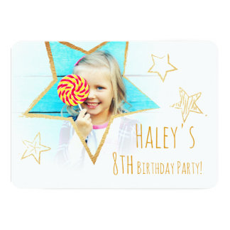 Golden Star Fun Photo Birthday Party Invitation