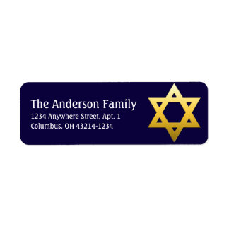 Golden Star of David Hanukkah Address Labels d2