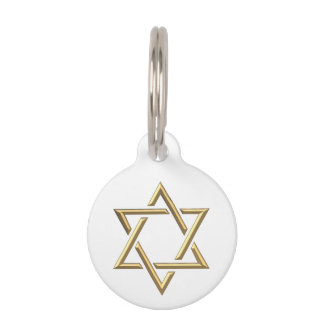 Golden Star of David Pet Name Tag