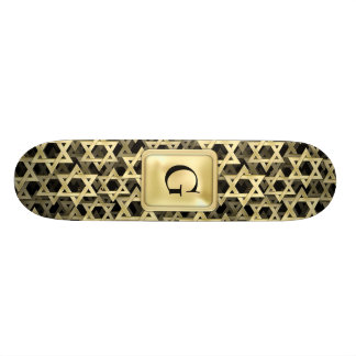 Golden Star Of David Custom Skateboard