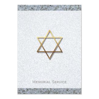Golden Star of David Stone 1 Memorial Service 13 Cm X 18 Cm Invitation Card