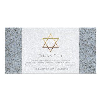 Golden Star of David Stone 4 Sympathy Thank You Card