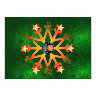 Golden Star Snowflake 13 Cm X 18 Cm Invitation Card