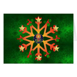 Golden Star Snowflake Greeting Card