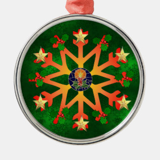 Golden Star Snowflake Christmas Ornament