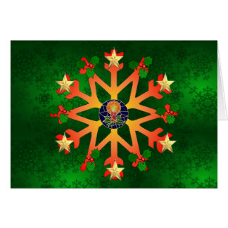 Golden Star Snowflake Greeting Card