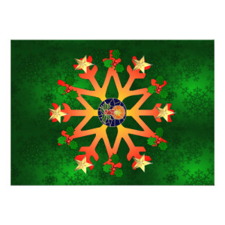 Golden Star Snowflake Personalized Announcements
