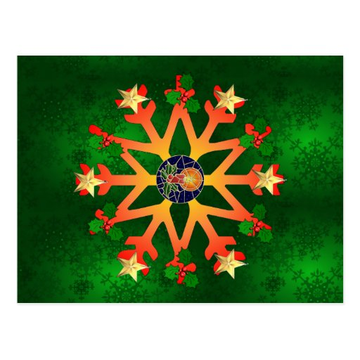 Golden Star Snowflake Post Cards