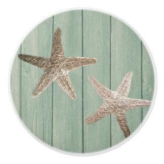 Golden Starfish & Wood Elegant Beach Custom Chic Ceramic Knob