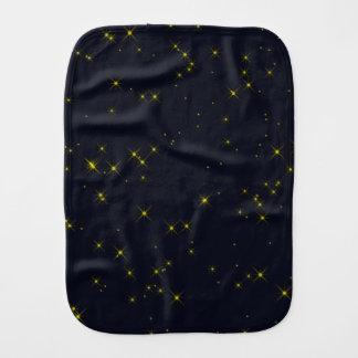 Golden Starry Night Sky Baby Burp Cloth