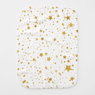 Golden Stars2 -Pure White- Burp Cloth