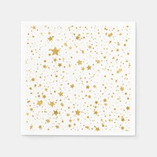 Golden Stars2 -Pure White- Paper Napkin