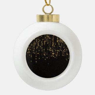 Golden Stars Ceramic Ball Christmas Ornament