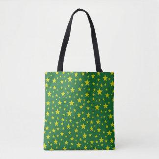 Golden Stars Green Tote Bag