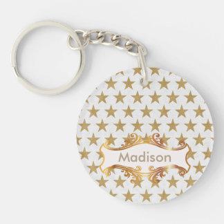 Golden stars key ring