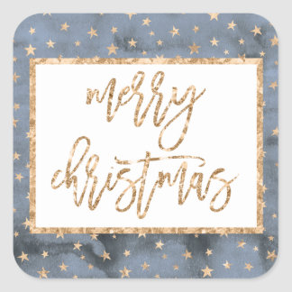 Golden Stars Merry Christmas Square Stickers
