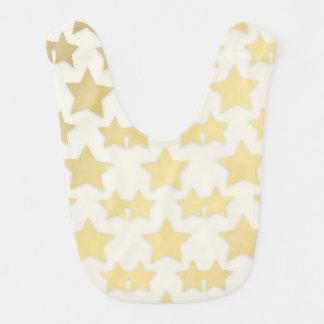 Golden Stars Pattern On A White Background Baby Bib