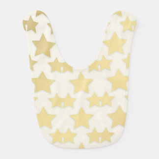 Golden Stars Pattern On A White Background Bib