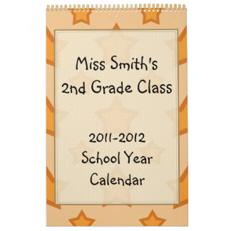 Golden Stars School Year Calendar with lined pages