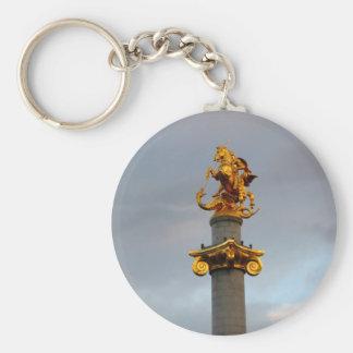 Golden Statue Of Saint George, Republic Of Georgia Key Ring