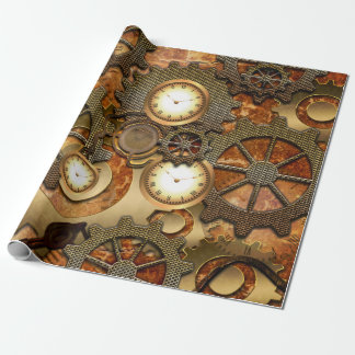 Golden steampunk wrapping paper