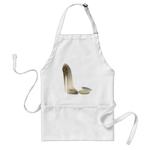 Golden Stiletto Shoe and Make-up Compact Art Apron