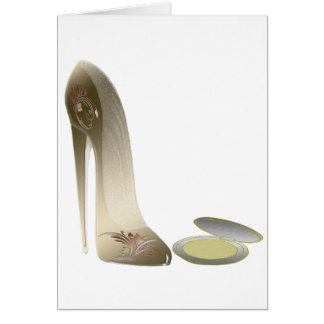 Golden Stiletto Shoe and Make-up Compact Art Greeting Card