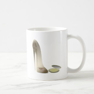 Golden Stiletto Shoe and Make-up Compact Art Mugs