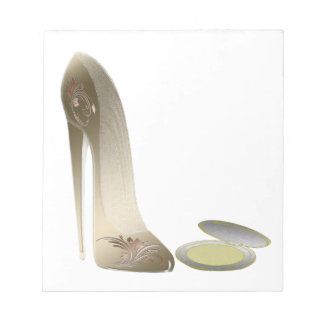 Golden Stiletto Shoe and Make-up Compact Art Memo Notepad