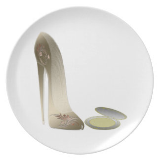Golden Stiletto Shoe and Make-up Compact Art Plate