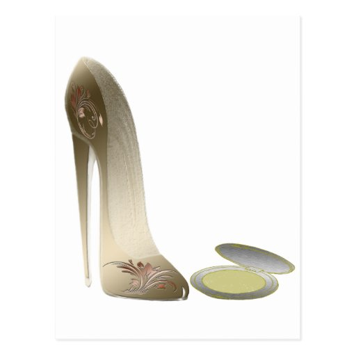 Golden Stiletto Shoe and Make-up Compact Art Postcards