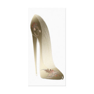 Golden Stiletto Shoe Art Stretched Canvas Print