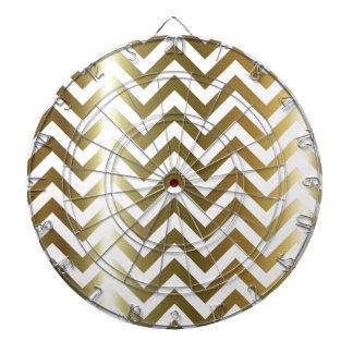 Golden Stripes Chevron Pattern Dartboard With Darts