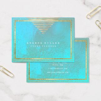 Golden Stripes Frame Aqua Minimal Geometry Blue Business Card