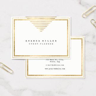 Golden Stripes Frame White Minimal Event Stylist Business Card