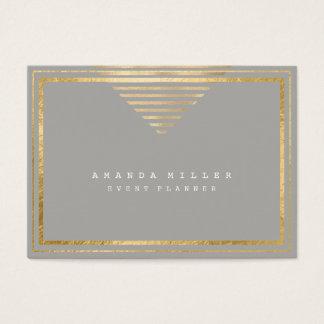 Golden Stripes Frame White Minimal Geometry Gray Business Card