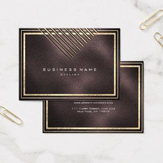 Golden Stripes Framed Burgundy Geometry Black Glas Business Card