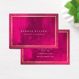 Golden Stripes Framed Minimal Geometric Pink Business Card