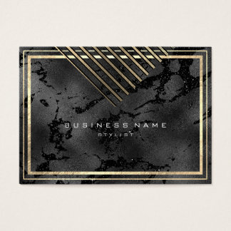 Golden Stripes Framed  Minimal Geometry Black Glam Business Card