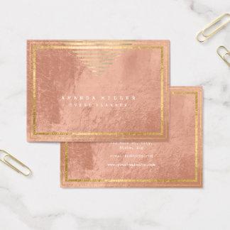 Golden Stripes Framed Minimal Geometry Pink Skin Business Card
