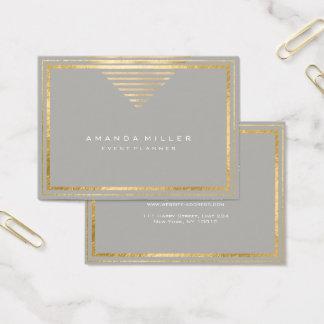 Golden Stripes Framed White Minimal Geometry Gray Business Card